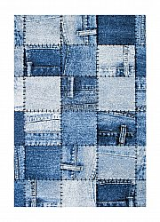 Tapis 133 x 190 cm (wilton) - Indigo Denim Patch (bleu)