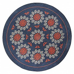 Tapis rond - Florina (bleu/orange)