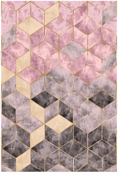 Tapis Wilton - Brendola (rose/gris/or)