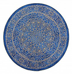 Tapis rond - Vinadio (bleu/or)