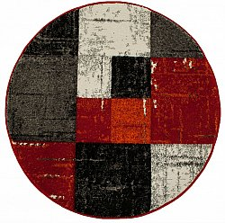 Tapis rond - London Square (rouge/orange)